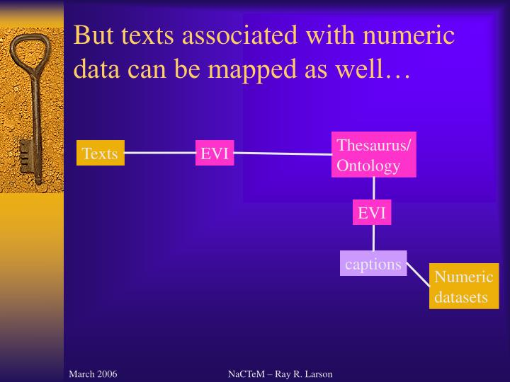 But texts associated with numeric data can be mapped as well…