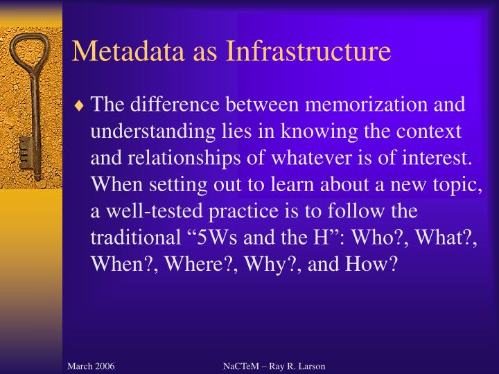 Metadata as infrastructure