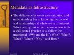 metadata as infrastructure