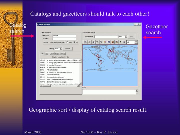Catalogs and gazetteers should talk to each other!