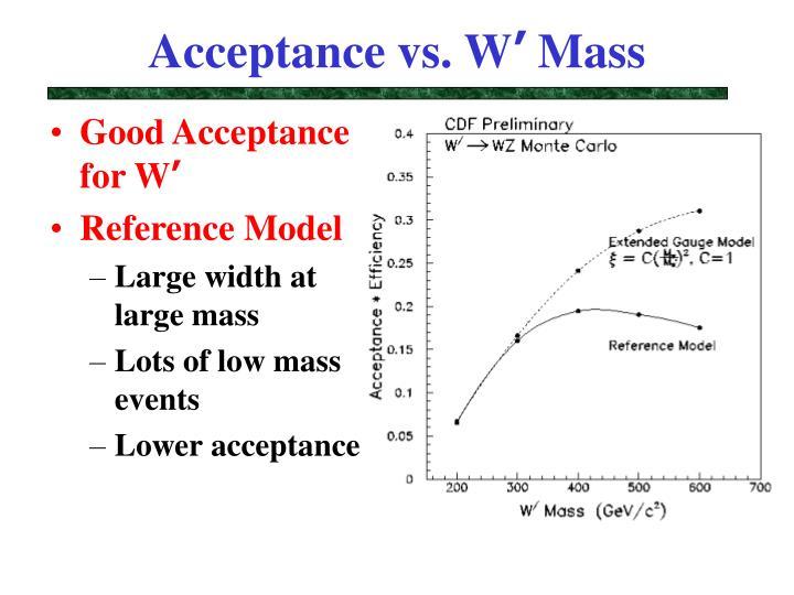 Acceptance vs. W