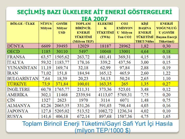 Toplam Birincil Enerji Tüketimi/Gayri Safi Yurt İçi Hasıla
