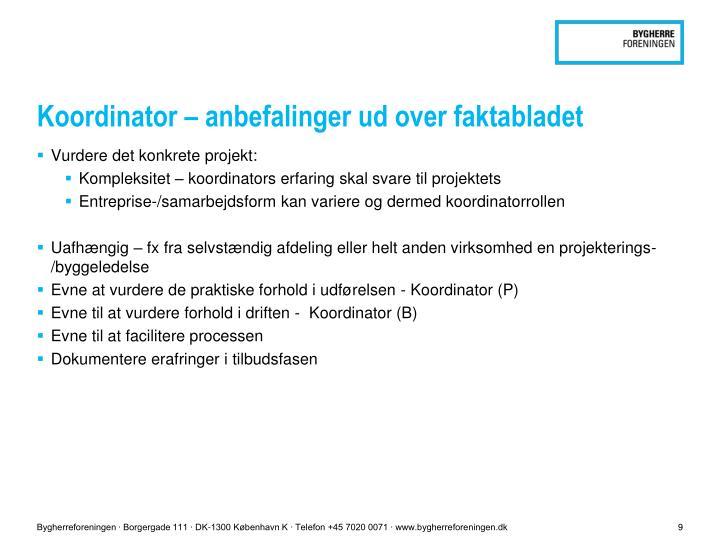 Koordinator – anbefalinger ud over faktabladet