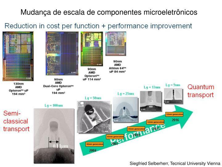 Mudança de escala de componentes microeletrônicos