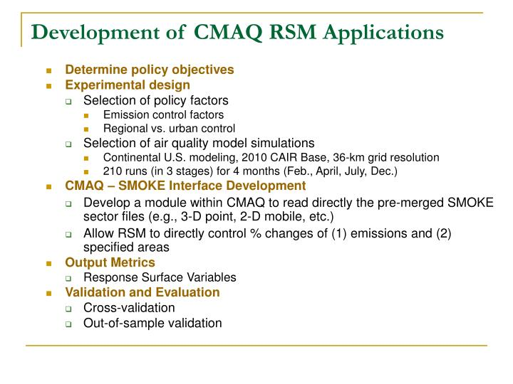 Development of CMAQ RSM Applications