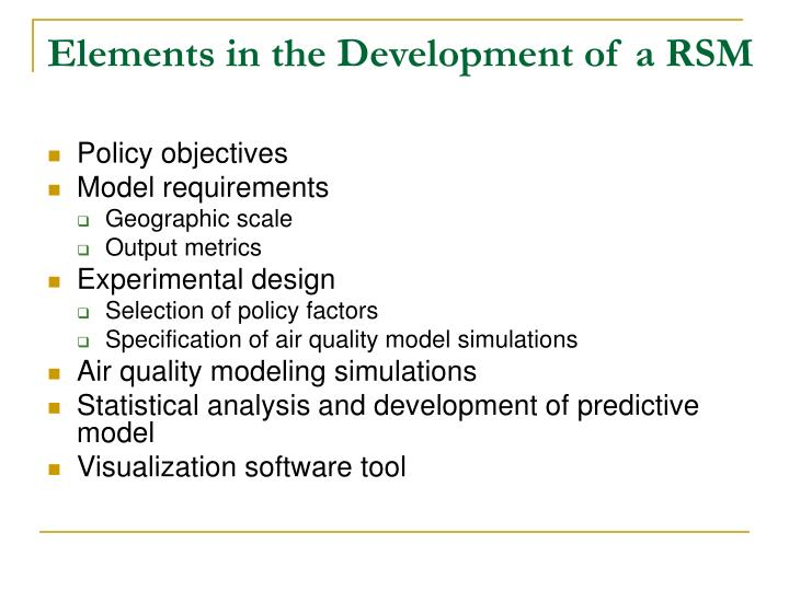 Elements in the Development of a RSM