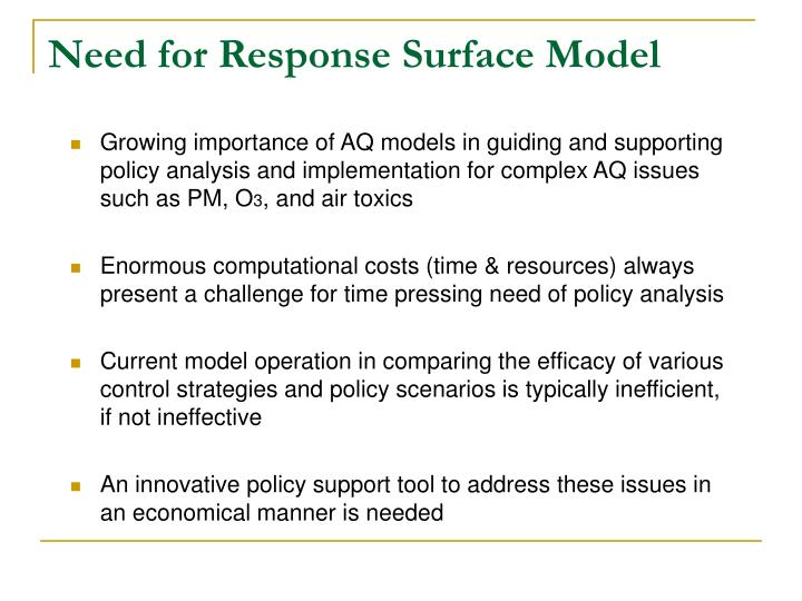 Need for response surface model