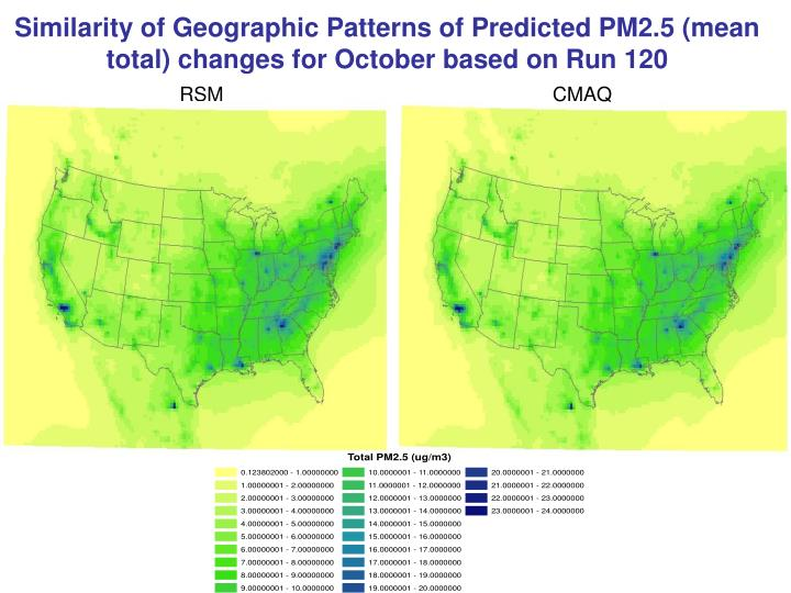 Similarity of Geographic Patterns of Predicted PM2.5 (mean total) changes for October based on Run 120