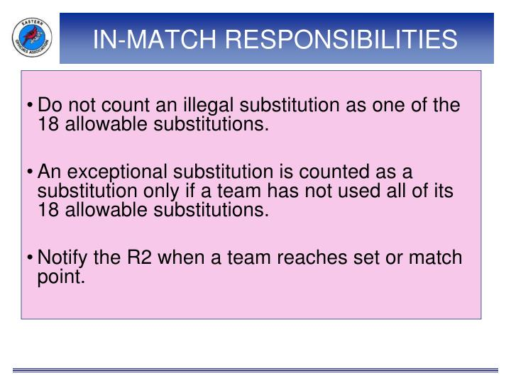 IN-MATCH RESPONSIBILITIES