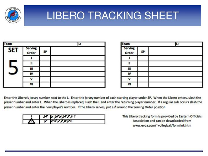 LIBERO TRACKING SHEET
