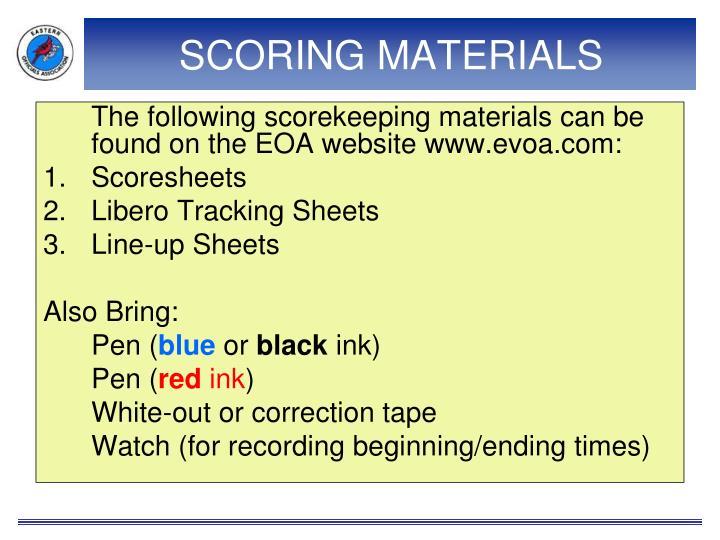 SCORING MATERIALS
