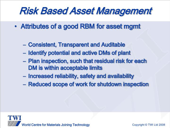 Risk Based Asset Management