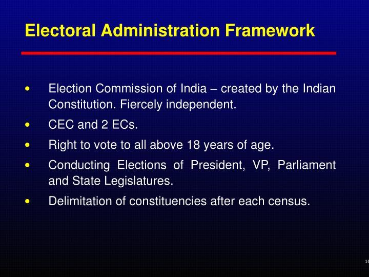 Electoral Administration Framework