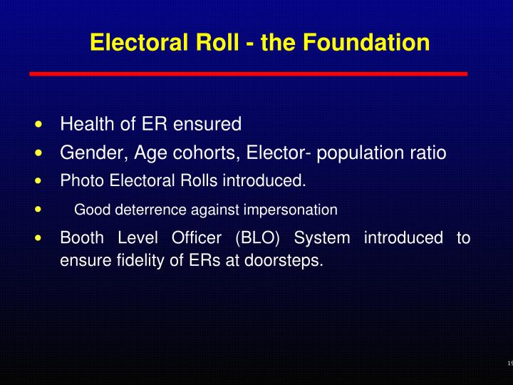 Electoral Roll - the Foundation