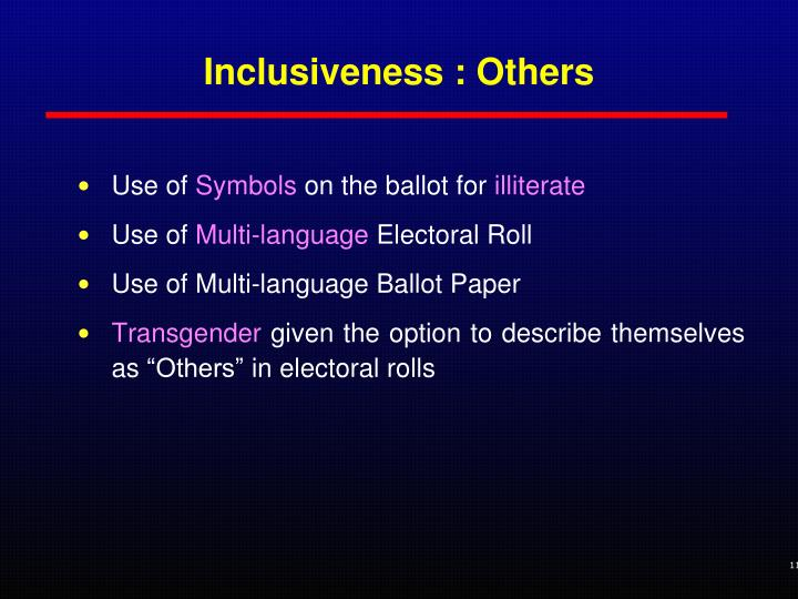 Inclusiveness : Others