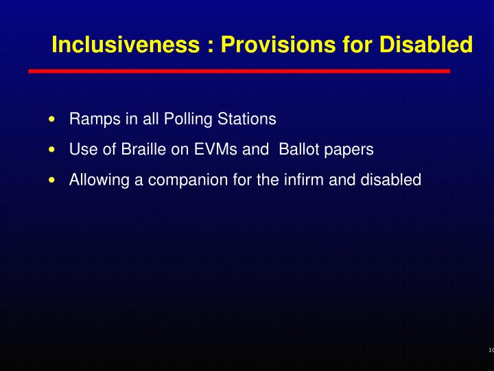 Inclusiveness : Provisions for Disabled