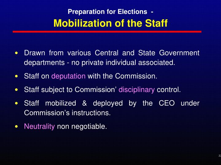 Mobilization of the Staff