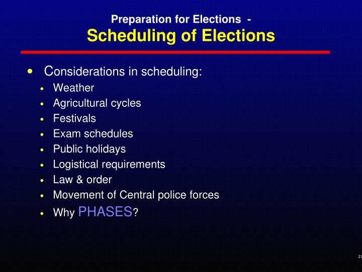 Scheduling of Elections