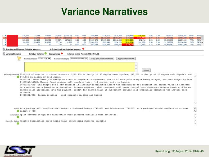 Variance Narratives
