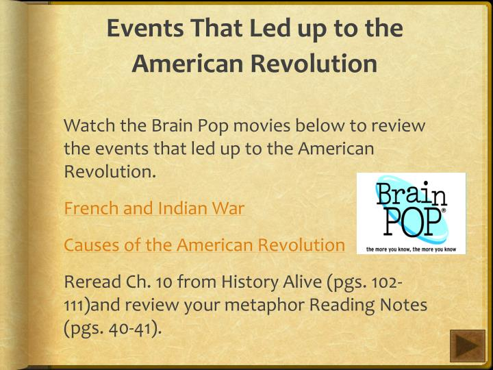 Events That Led up to the American Revolution