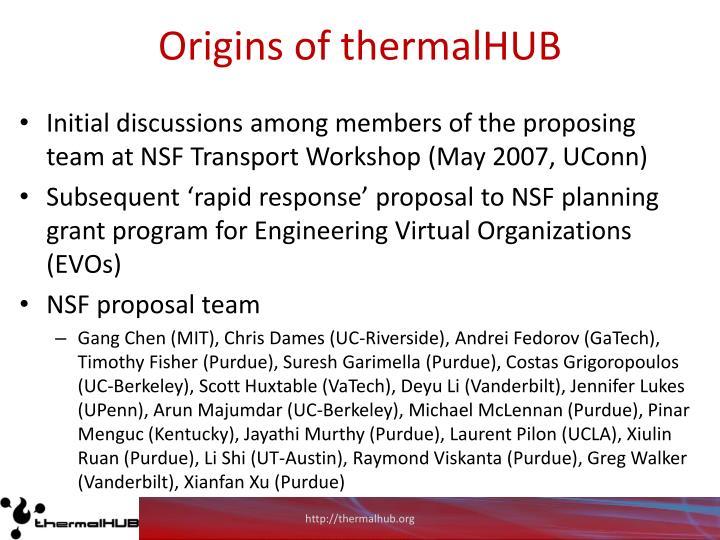 Origins of thermalHUB