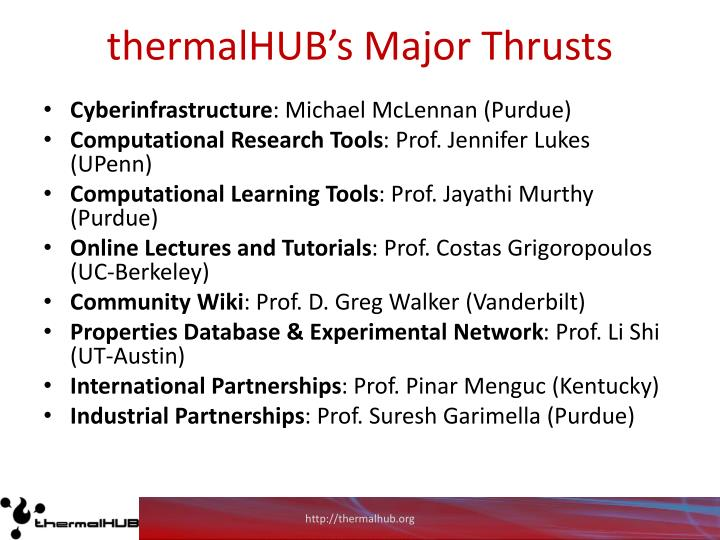 thermalHUB's Major Thrusts