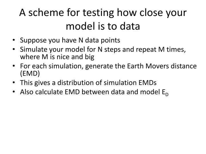 A scheme for testing how close your model is to data