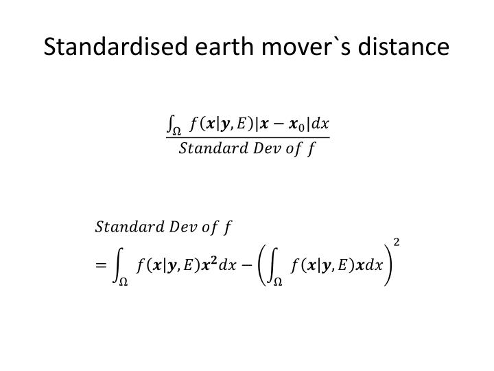 Standardised earth mover`s distance