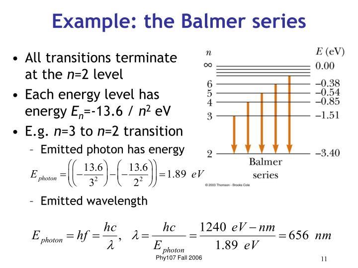 Example: the Balmer series
