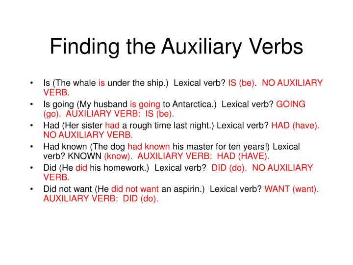 Finding the Auxiliary Verbs