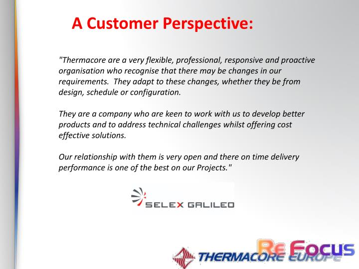 A Customer Perspective: