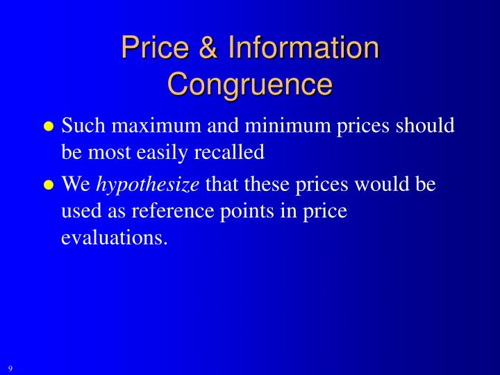 Price & Information Congruence