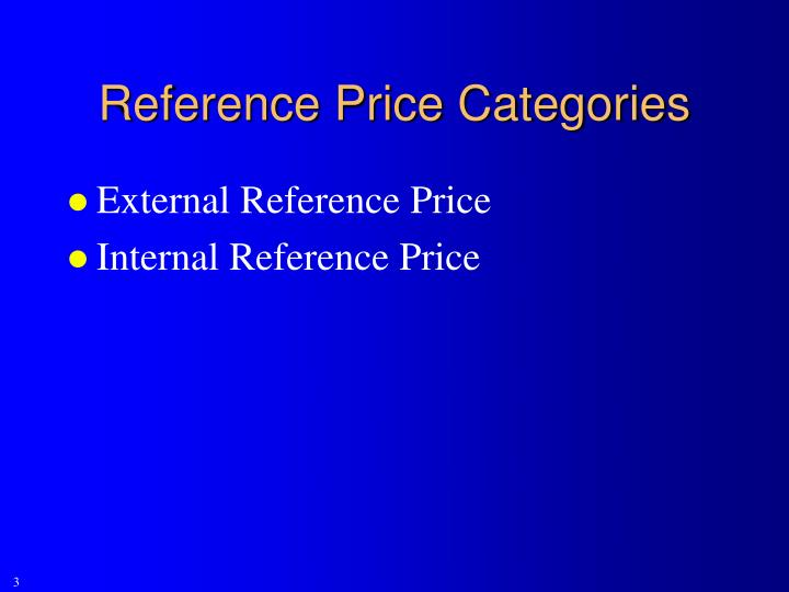 Reference Price Categories