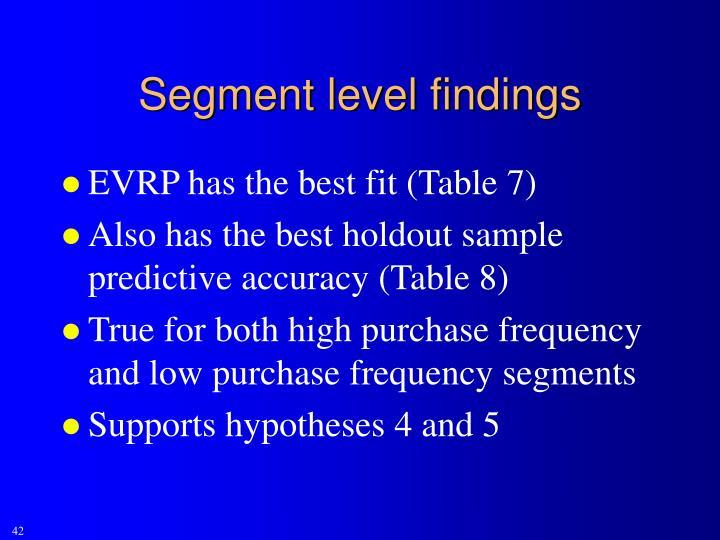 Segment level findings