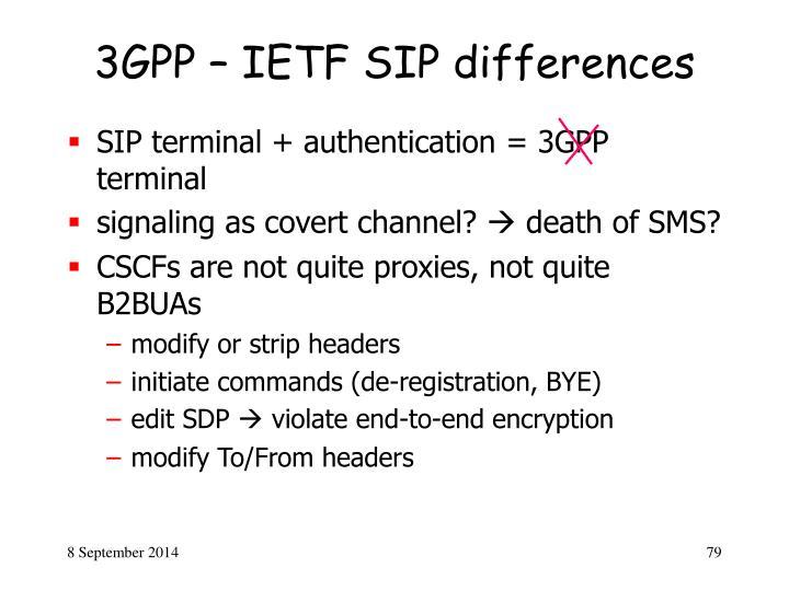 3GPP – IETF SIP differences
