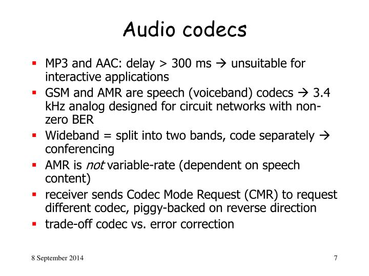 Audio codecs