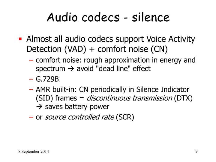 Audio codecs - silence