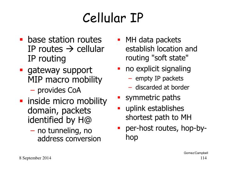 base station routes IP routes