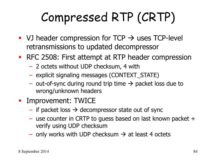 Compressed RTP (CRTP)