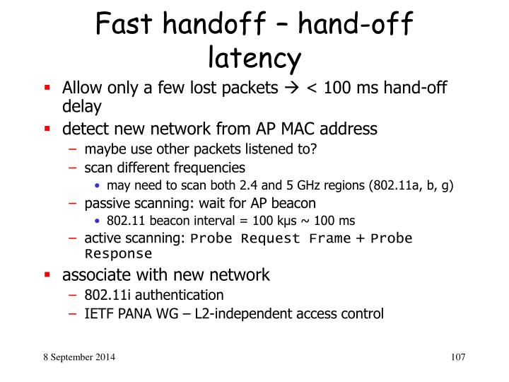Fast handoff – hand-off latency