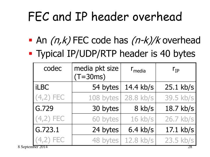 FEC and IP header overhead