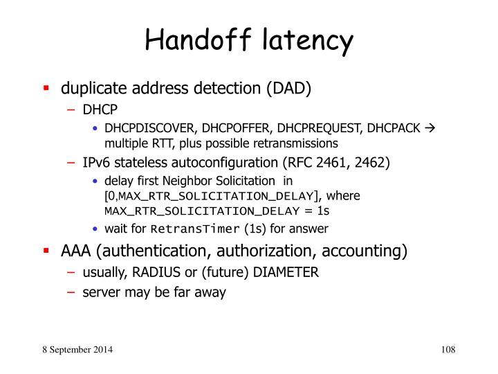 Handoff latency