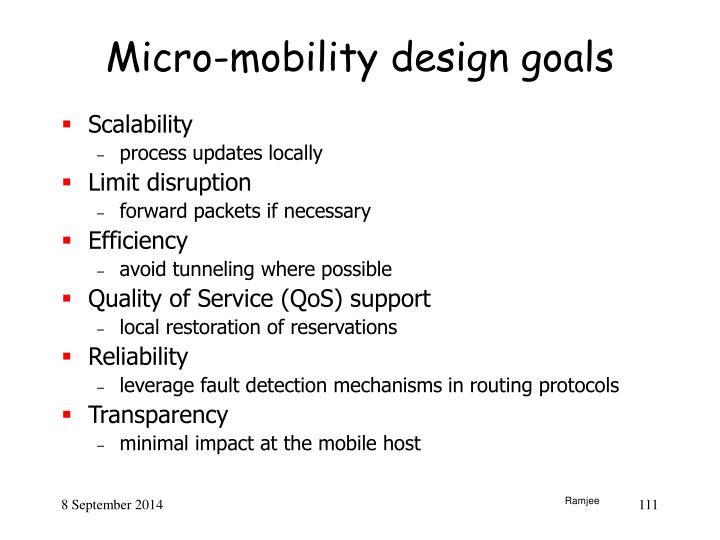 Micro-mobility design goals