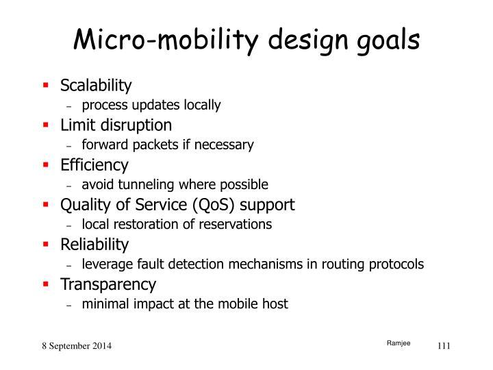 Micro-mobility design goals