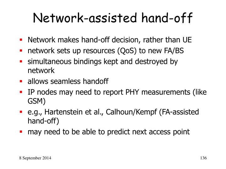 Network-assisted hand-off