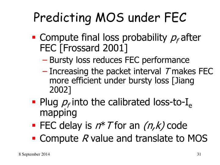 Predicting MOS under FEC
