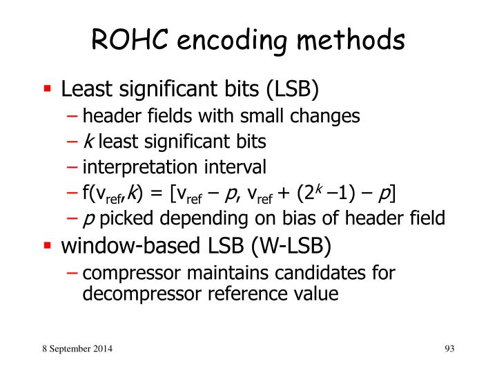 ROHC encoding methods