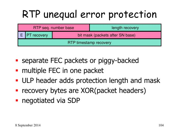 RTP unequal error protection