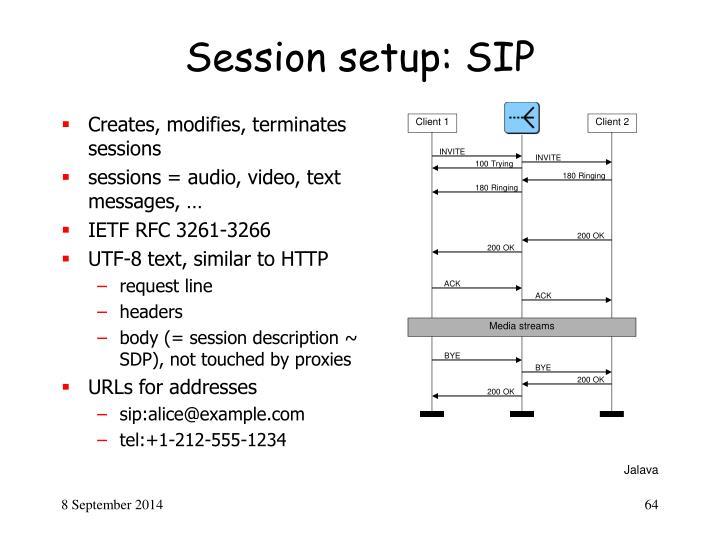 Session setup: SIP