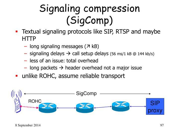 Signaling compression (SigComp)